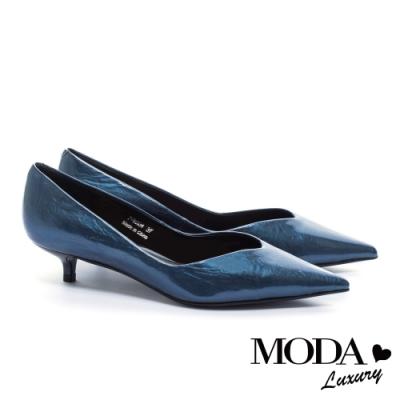 低跟鞋 MODA Luxury 極簡時髦珠光皺漆牛皮尖頭低跟鞋-藍