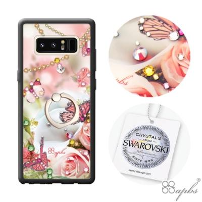 apbs Samsung Galaxy Note 8 施華彩鑽減震指環扣手機殼-典雅蝴蝶(黑邊框)