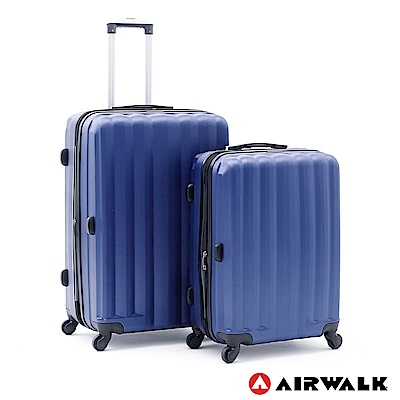 AIRWALK -海岸線系列 BoBo經濟款ABS硬殼拉鍊24+28吋兩件組-晝日藍