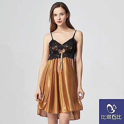 法式高雅 經典柔緞蕾絲睡衣 (奢華金-F)