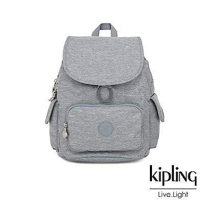 Kipling 極簡風淺灰丹寧拉鍊掀蓋後背包-CITY PACK S