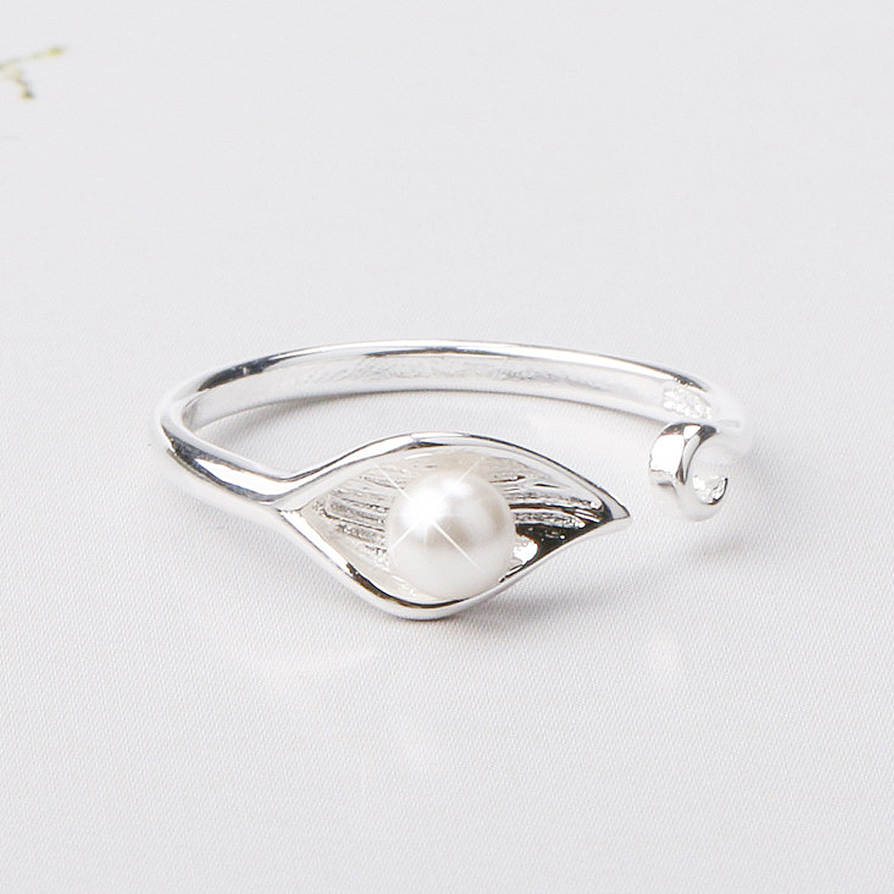 iSFairytale伊飾童話 銀葉珍珠 亮麗白銀銅鍍30銀開口戒指