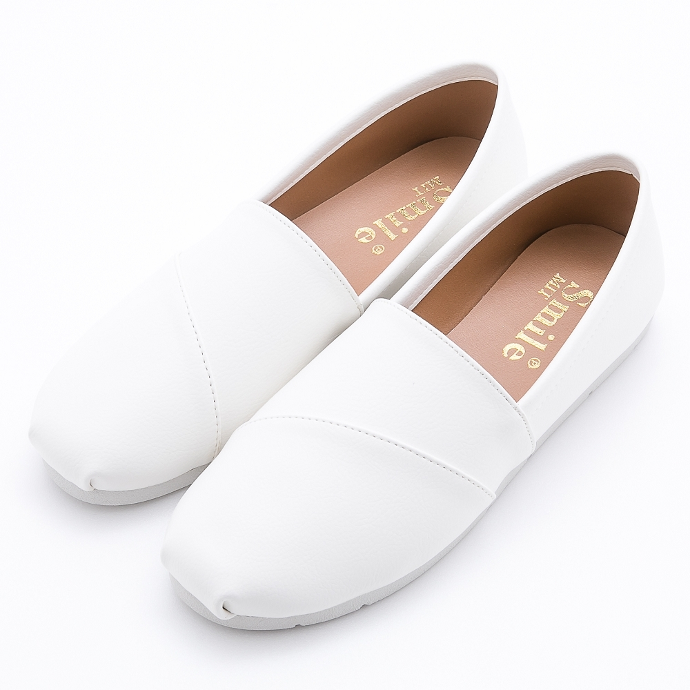 River&Moon台灣製拼接素面懶人休閒鞋 白皮