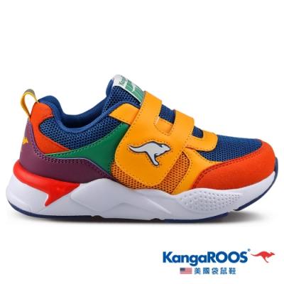 KangaROOS 美國袋鼠鞋 童鞋 MOTION色塊拼接跑鞋/休閒鞋/運動鞋(土黃-KK01312)