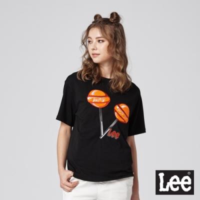 Lee短袖T恤 棒棒糖拼接-黑-女