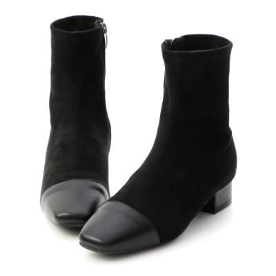 D+AF 首爾名媛.小香風拼接低跟襪靴*黑