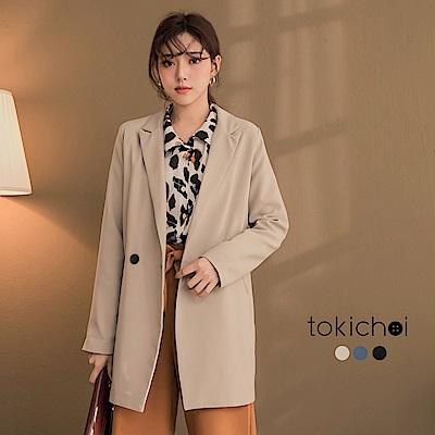 東京著衣 韓妞人手一件袖反褶西裝外套-S.M(共三色)