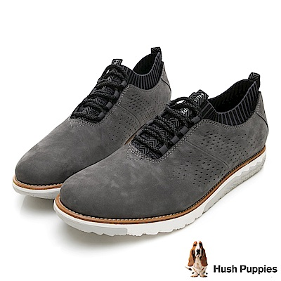 Hush Puppies EXPERT 透氣皮革健走鞋-深灰