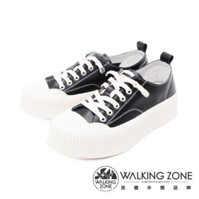 WALKING ZONE(女) 圓頭餅乾鞋 厚底鞋 休閒鞋 女鞋 - 黑(另有白)