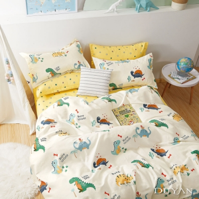 DUYAN竹漾-100%精梳純棉-雙人加大四件式舖棉兩用被床包組-恐龍樂園 台灣製