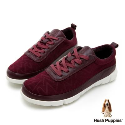 Hush Puppies 率性拼接透氣健步鞋-酒紅
