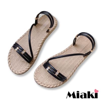 Miaki-涼鞋南洋編織2穿平底涼拖-黑