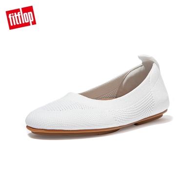 【FitFlop】ALLEGRO TONAL KNIT BALLERINAS 經典芭蕾舞鞋-女(都會白)