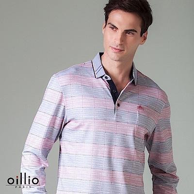 歐洲貴族 oillio 長袖POLO 雙色條紋 紳士口袋 桃紅色
