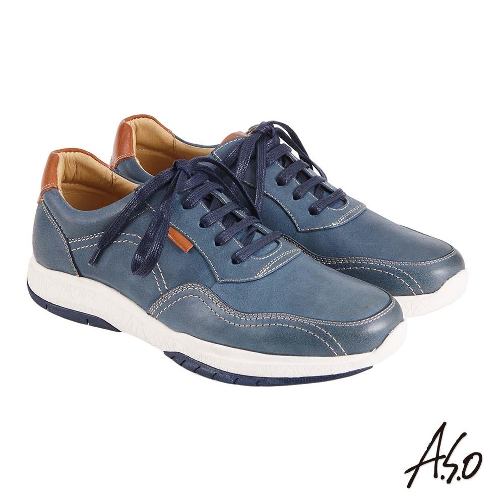 A.S.O 機能休閒 萬步健康鞋 綁帶款休閒鞋-藍