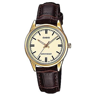 CASIO卡西歐 時尚金系女仕皮帶腕錶(LTP-V005GL-9A)-淺黃x34mm