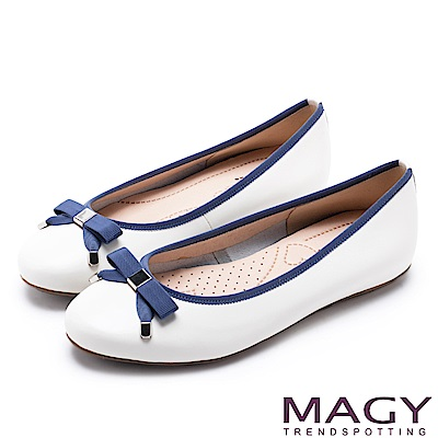 MAGY 清新女孩 氣質款蝴蝶結牛皮娃娃鞋-白色