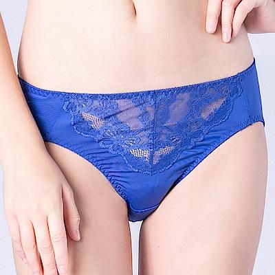 思薇爾 春舞花蝶系列M-XXL蕾絲中腰三角內褲(深海藍)
