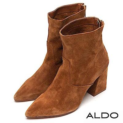 ALDO 原色真皮馬鞍造型金屬拉鍊粗跟靴~典雅焦糖