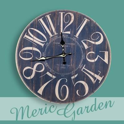 【Meric Garden】風格仿舊裝飾壁掛式時鐘/壁鐘/掛鐘(藍色數字)