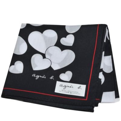 agnes b 繽紛愛心品牌字母LOGO帕領巾(黑系)