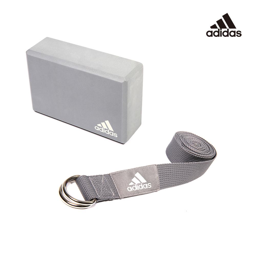 Adidas 瑜伽二件組(泡沫瑜珈磚+編織棉質瑜珈伸展帶)
