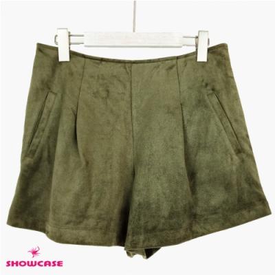 【SHOWCASE】冬季時尚保暖絨感寬襬造型短褲-綠