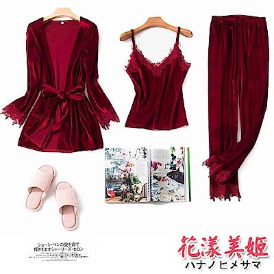 睡衣 居家三件組 長袖睡衣 綁帶睡袍 金絲絨睡衣褲(棗紅) 花漾美姬
