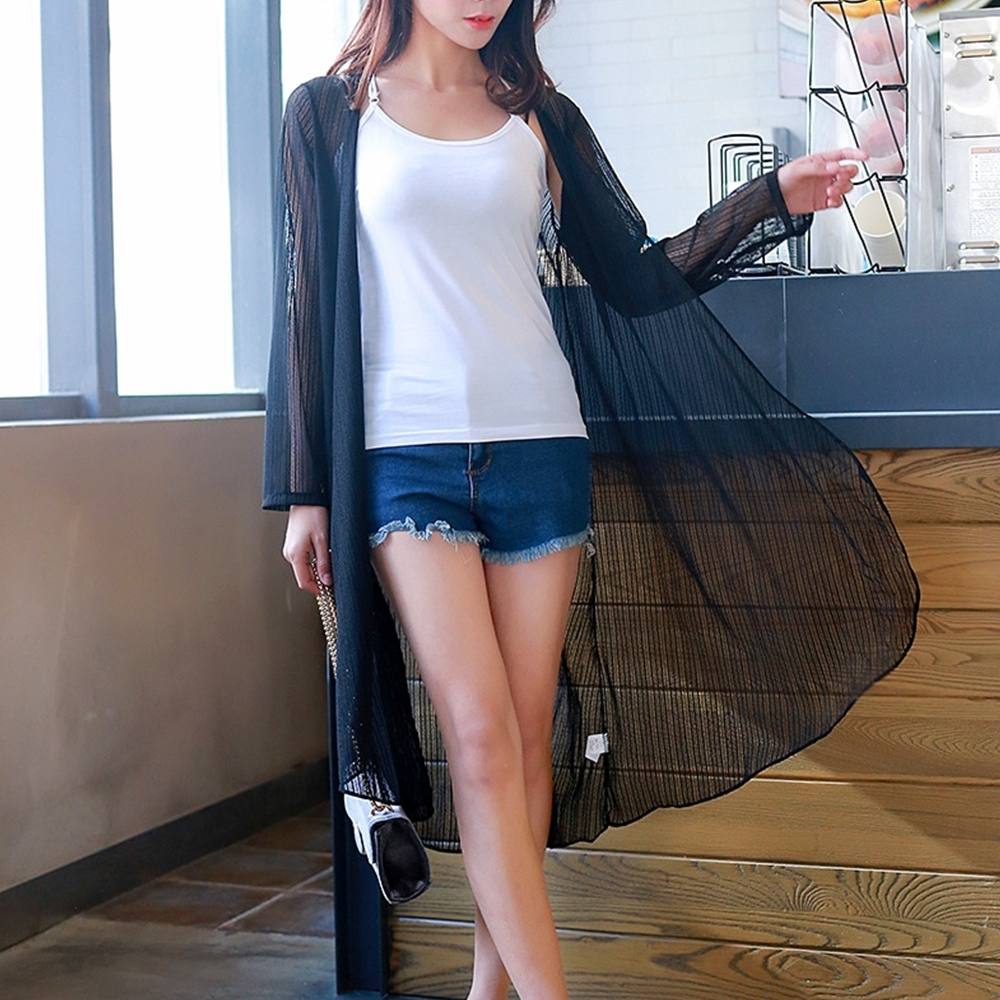 Lockers木櫃 輕熟女冰麻蕾絲防曬長款外套/罩衫-2色
