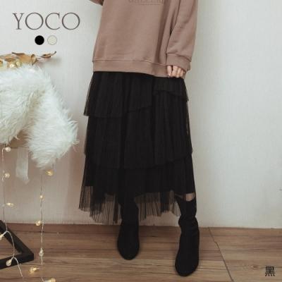 東京著衣-YOCO 浪漫柔美多層次蕾絲拼接絨布磨毛裙(共二色)