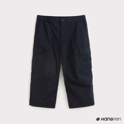 Hang Ten-男裝-素面REGULAR FIT七分工作褲-藍