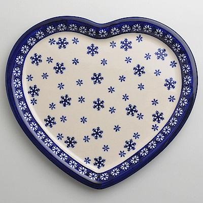 波蘭陶雪白冰花系列愛心造型餐盤波蘭手工製