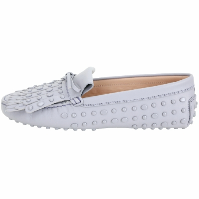 TOD'S Gommino frange 流蘇飾片休閒豆豆鞋(灰藍色)