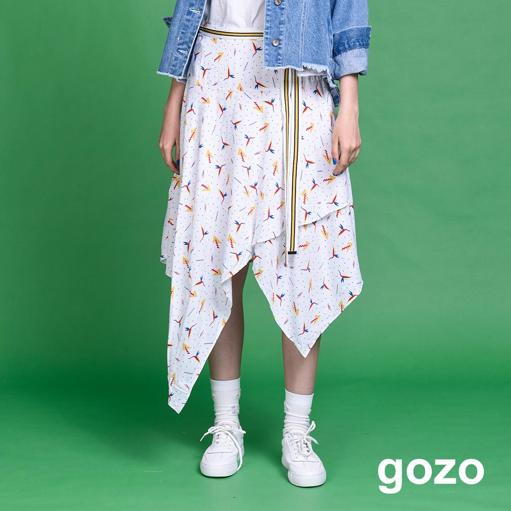 gozo 幾何動物印花不規則中長裙(二色)