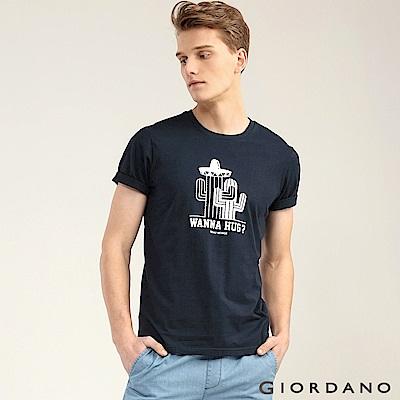 GIORDANO 男裝大自然系列印花短袖T恤-63 標誌海軍藍