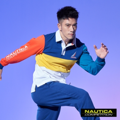 Nautica COMPETITION撞色拼接長袖POLO衫-藍色