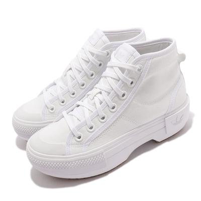 adidas 休閒鞋 Nizza Trek W 厚底 女鞋 愛迪達 增高 三葉草 帆布 球鞋穿搭 全白 GZ8858