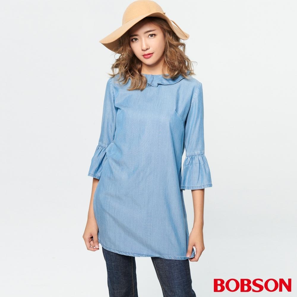 BOBSON 女款荷葉領喇叭袖洋裝