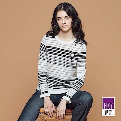 ILEY伊蕾 條紋織蔥圓領羊毛針織衣(白)