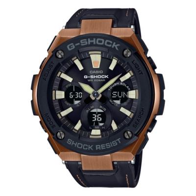 CASIO卡西歐G-STEEL系列太陽能金色離子IP腕錶-古銅(GST-S120L-1A)