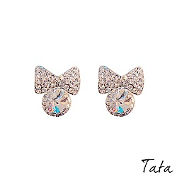蝴蝶結水鑽耳環 TATA