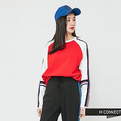 H:CONNECT 韓國品牌 女裝-撞色線條感造型上衣-橘