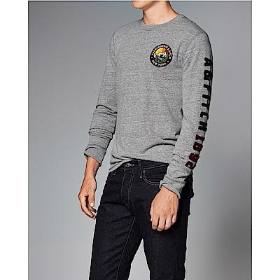 麋鹿 AF A&F 經典文字設計長袖T恤-灰色