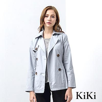 KiKi INLook 優雅合身收腰短版風衣(藍色)