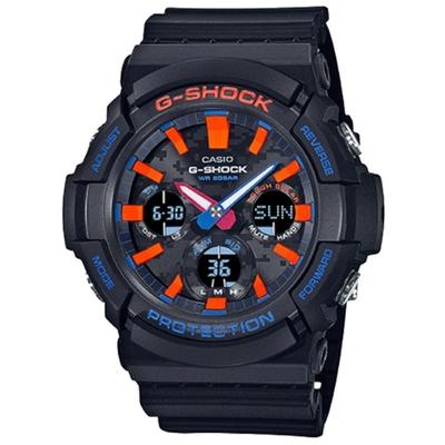 CASIO 卡西歐 G-SHOCK 雙顯手錶GAS-100CT-1A-黑x橘色/55.1mm