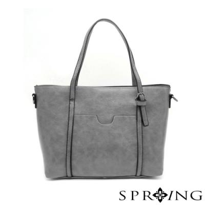 SPRING-真皮清新時尚兩用側肩包-優雅灰