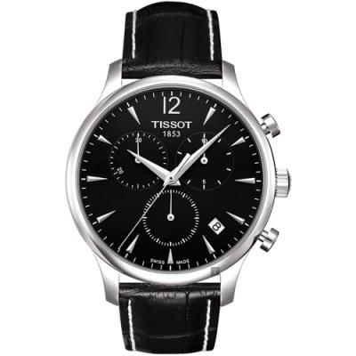 TISSOT 天梭 TRADITION 復刻計時腕錶-黑/42mm T0636171605700