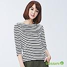 bossini女裝-圓領七分袖條紋上衣01灰白