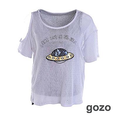 gozo 閃耀星球單側挖肩二件式上衣(二色)