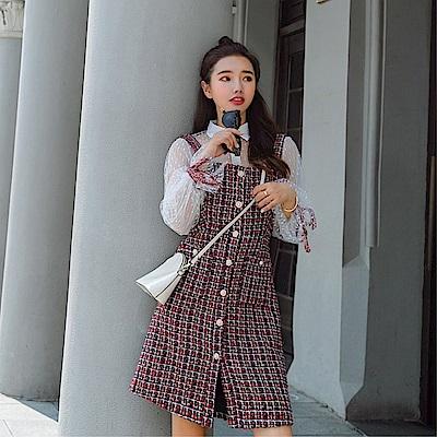 DABI 韓系粗花呢名媛吊帶裙網紗襯衫套裝長袖裙裝